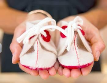 Hand Sewn Felt Baby Booties