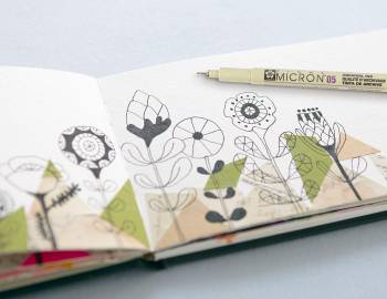 Sketchbook Explorations: Collaged Backgrounds and Line Drawing