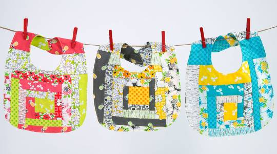Quilted Jelly Roll Baby Bibs