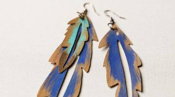 Cricut Crafts: Make Wood Veneer Feather Earrings