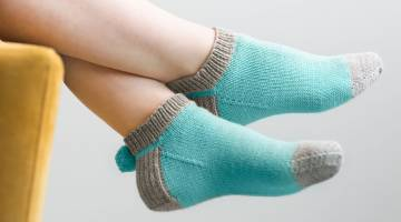 Knitted Pom Pom Socks