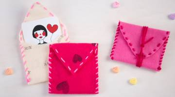 Stamped and Sewn Valentine's Pouches