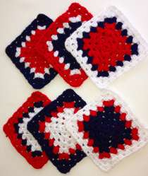 Red, white and blue grannies