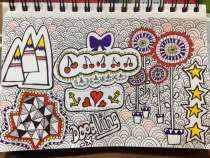 This drawing was created mainly from watching Lisa Congdon's Basic Line Drawing videos and also from watching Art Journaling by Dawn DeVries Sokol - drawn/doodled by louweezcreates.co.uk