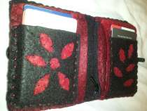 Reverse Applique Felt Wallet - not stenciled - made my own decorative pattern - used pieces cut from outside to applique inside