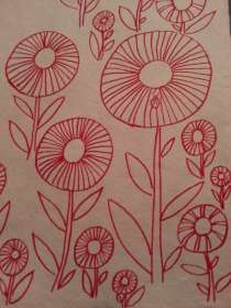 red ink flower doodle - great class!