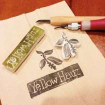 Made a rubber stamp of our logo for our packaging...