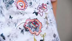 Learn with Rebecca Ringquist how to test shapes for design and composition for embroidery. Using thick yarn adds dimension and a satin stitch gives texture in this easy sewing project.