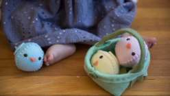 Kata Golda shares two hand-stitched Easter projects—a sweet stuffed chick and a companion Easter basket. The egg-shaped chicks are a great Easter project and make a great project for kids. The basket comes together with just a few rows of sewing.