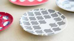 Courtney Cerruti demonstrates how to use the Cricut machine to cut stencils out of contact paper. Then she shows how to apply stencils to plates and spray paint them to create a variety of fun shapes and patterns.