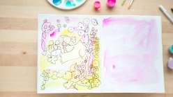 Learn how to paint a watercolor background and react to the paint with responsive drawing using brush tip markers, gelly roll pens and Uniball pens.
