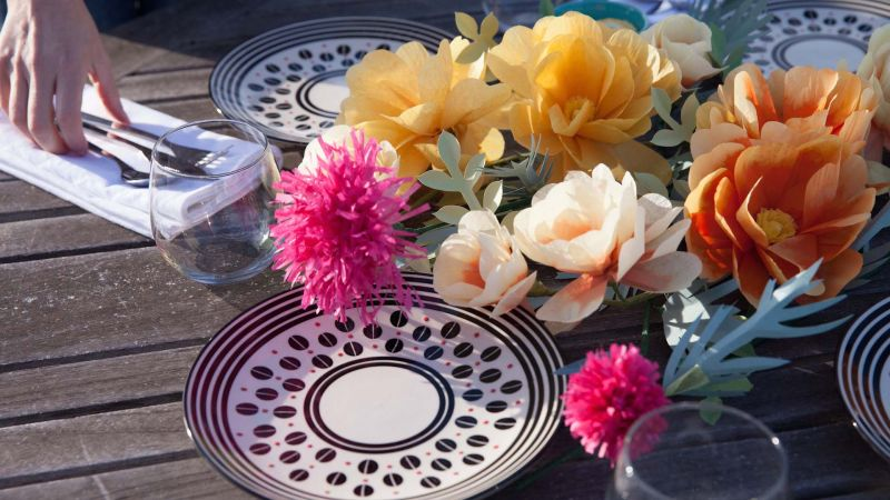 Paper Flowers Make A Wild Rose And Thistle Centerpiece