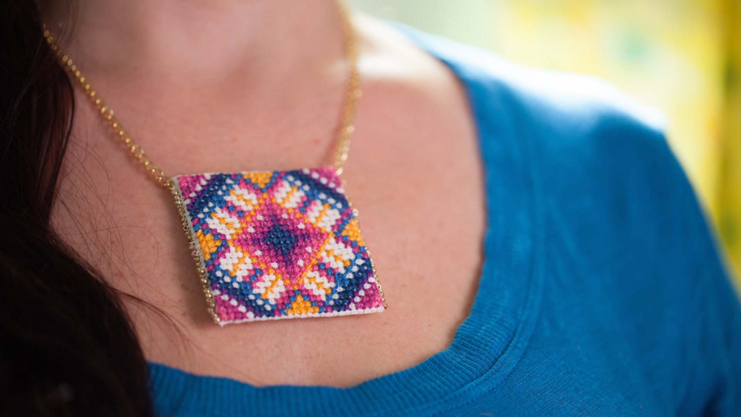 Cross Stitch Pendant by Anna Maria Horner