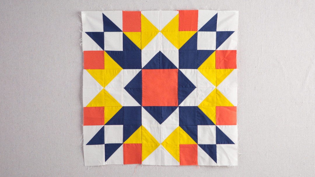 Arrow crown block by heather jones creativebug for Modern house quilt block