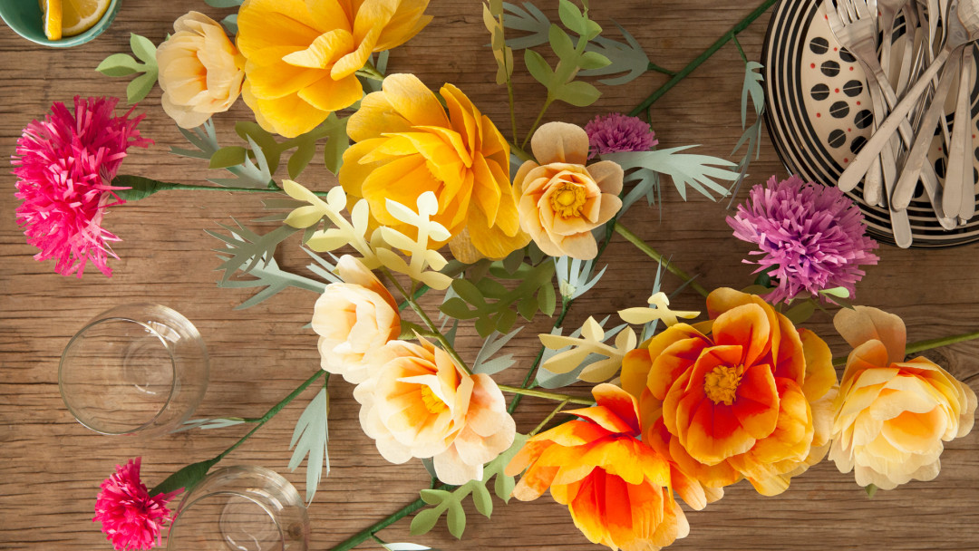 Paper Flowers Make A Wild Rose And Thistle Centerpiece By Livia