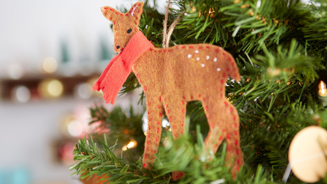 Hand-Stitched Deer Ornament by Courtney Cerruti