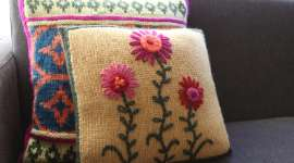 Embroidered Knit Pillow