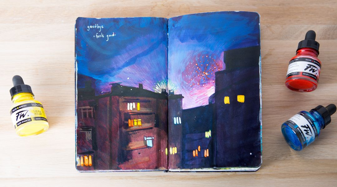 Acrylic Ink Painting: Starting a Travel Journal