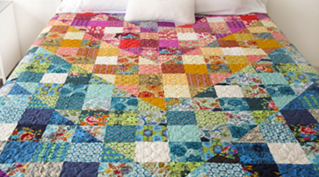 Color Dive Half-Square Triangle Quilt