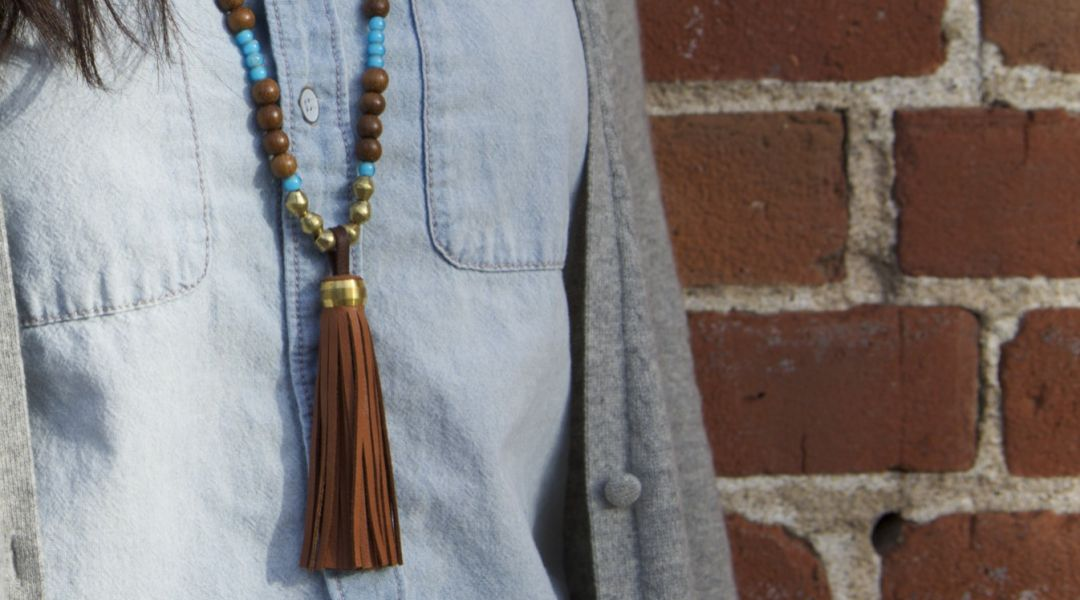 Make A Beaded Leather Tassel Necklace By Elke Bergeron Creativebug
