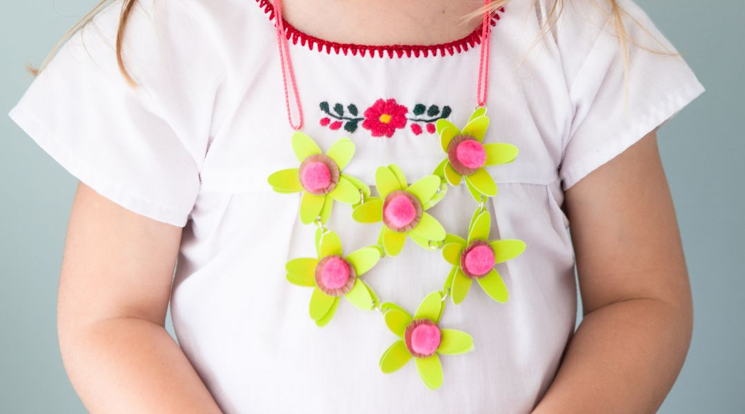 Kids Cricut Crafts Paper Flower Necklace By Annabel Wrigley