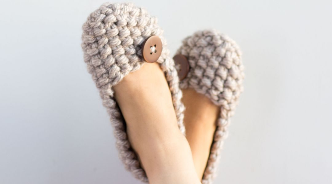 Knitted Seed Stitch Slippers