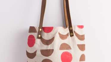 afcde96631 Hand-Stamped Tote Bag with Leather Handles by Jen Hewett - Creativebug