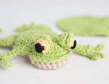 Crocheted Beanbag Frog with Lily Pads