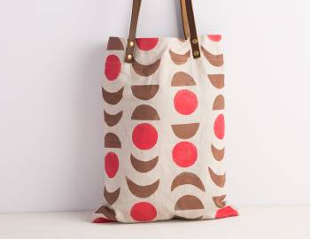 Hand-Stamped Tote Bag with Leather Handles