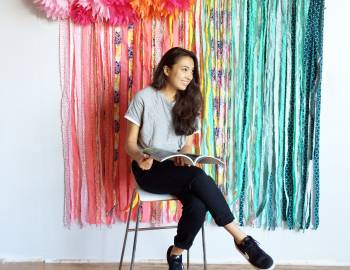 Fabric and Pompom Backdrop: 9/1/16