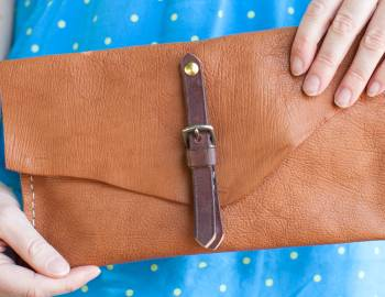 Leather Brindle Clutch