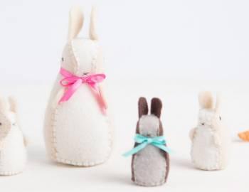 Hand Sew Springtime Bunny and Carrot Softies