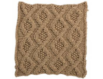 Cabled Afghan: BLOCK J - Seed Stitch Diamonds Square