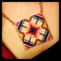 AMH Cross Stitch Pendant. Love.