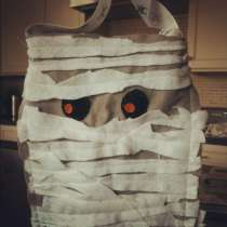 My 5-yo's mummy treat bag. Lots of fun making this together!