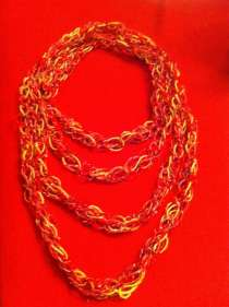 I love this chain scarf, its light weight, colorful and cheap to make.